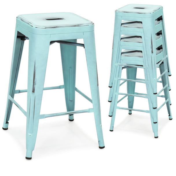 ... 24  Set of 4 Stackable Metal Counter Height Bar Stools - Distressed ...  sc 1 st  Best Choice Products & 24