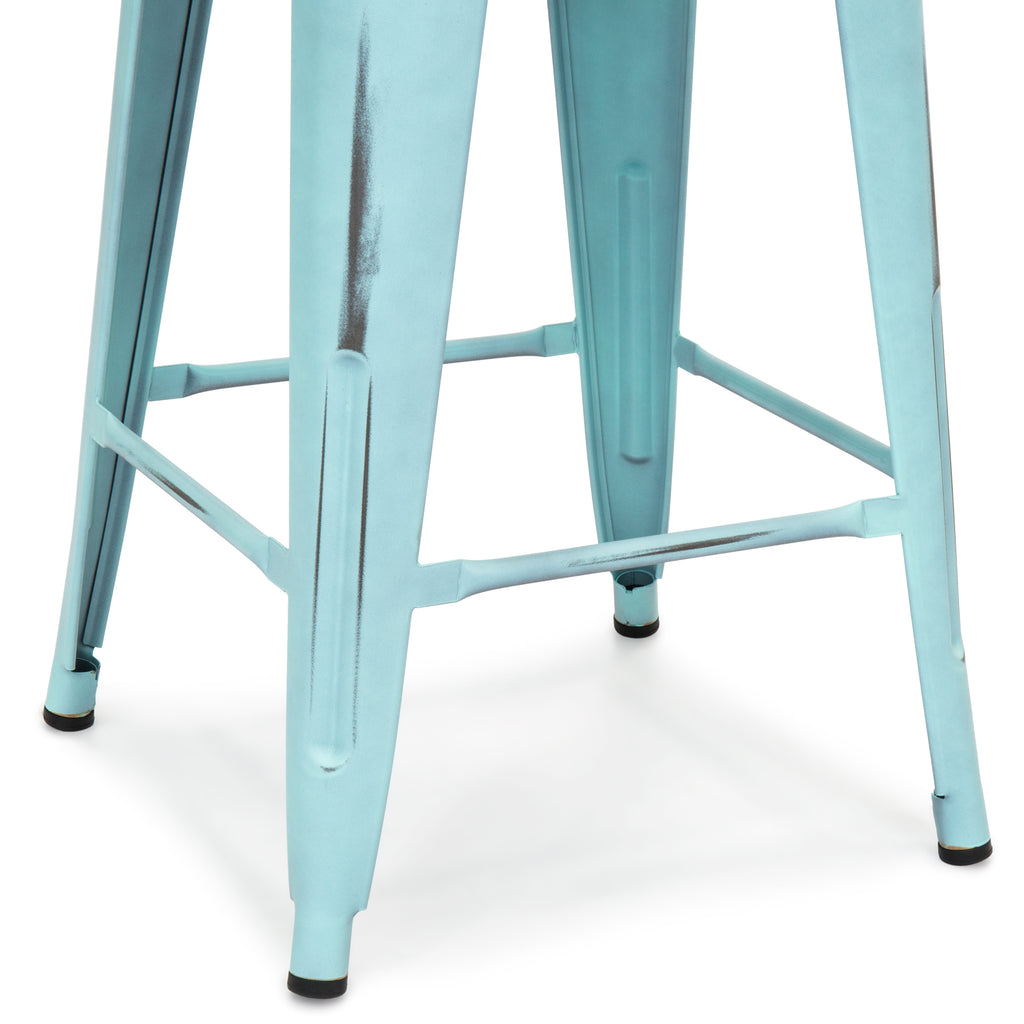 "24"" Set of 4 Stackable Metal Counter Height Bar Stools - Distressed Blue"