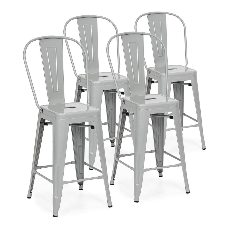 Swell 24 Set Of 4 Backrest Counter Height Metal Bar Stools Squirreltailoven Fun Painted Chair Ideas Images Squirreltailovenorg