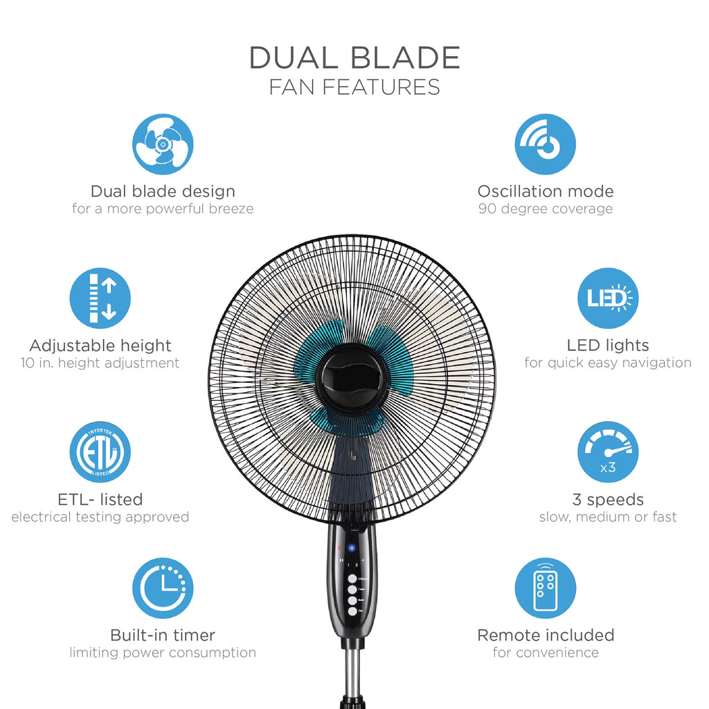16in Oscillating Pedestal Fan w/ Timer, Double Blades, Remote Control