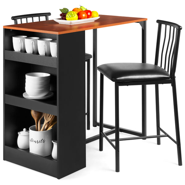 Kitchen Counter Height Dining Table Set w/ 2 Stools (Espresso)