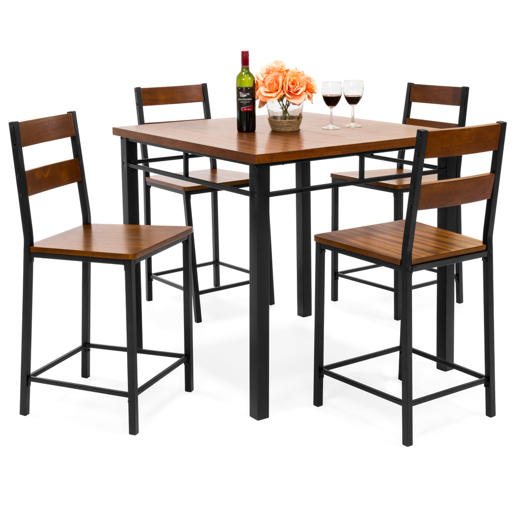 5-Piece Wood Finish Counter Height Table Dining Set w/ 4 ...