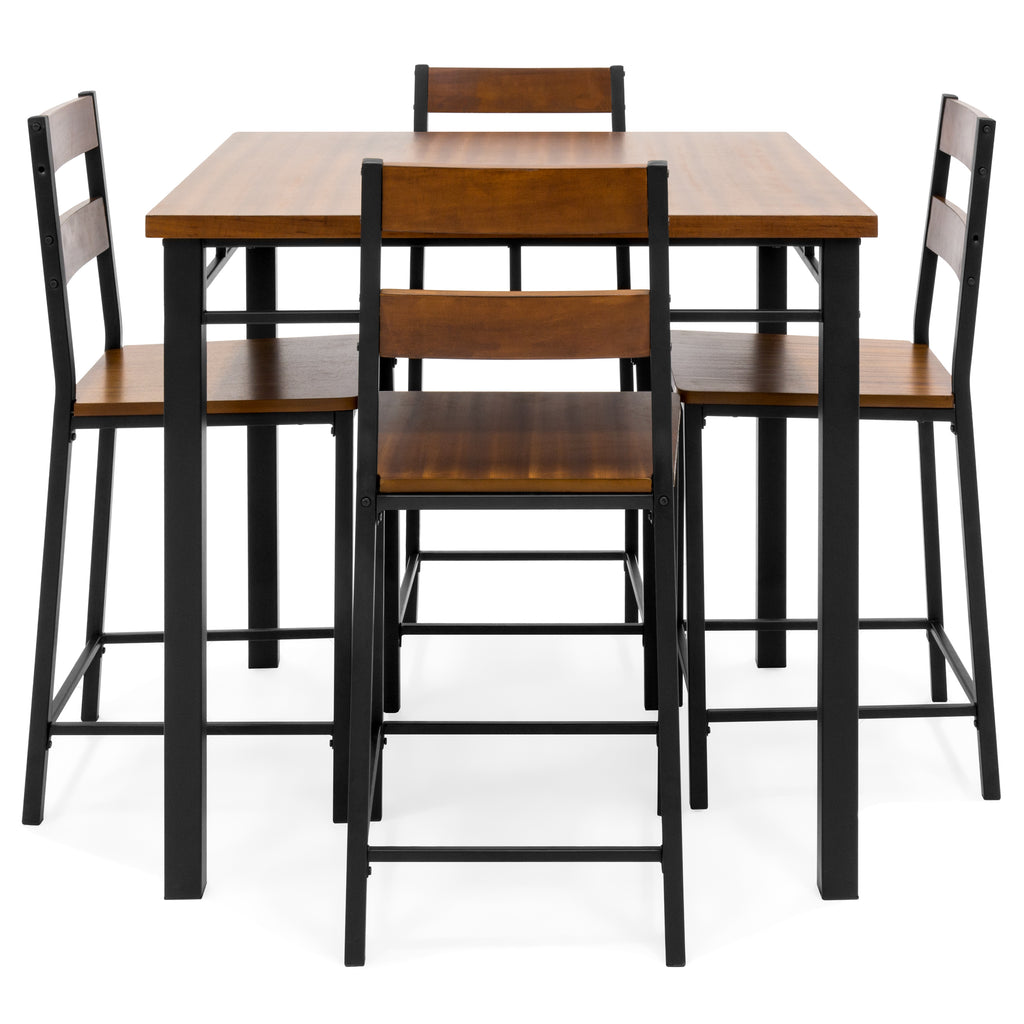 Cheap 5 Piece Dining Set: 5-Piece Wood Finish Counter Height Table Dining Set W/ 4