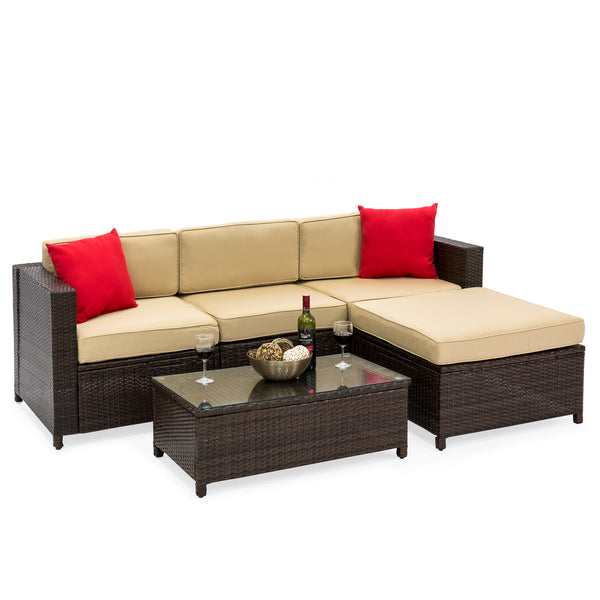 5-Piece Wicker Patio Sectional Set w/ Beige Cushions and Red Accent Pillows - Brown