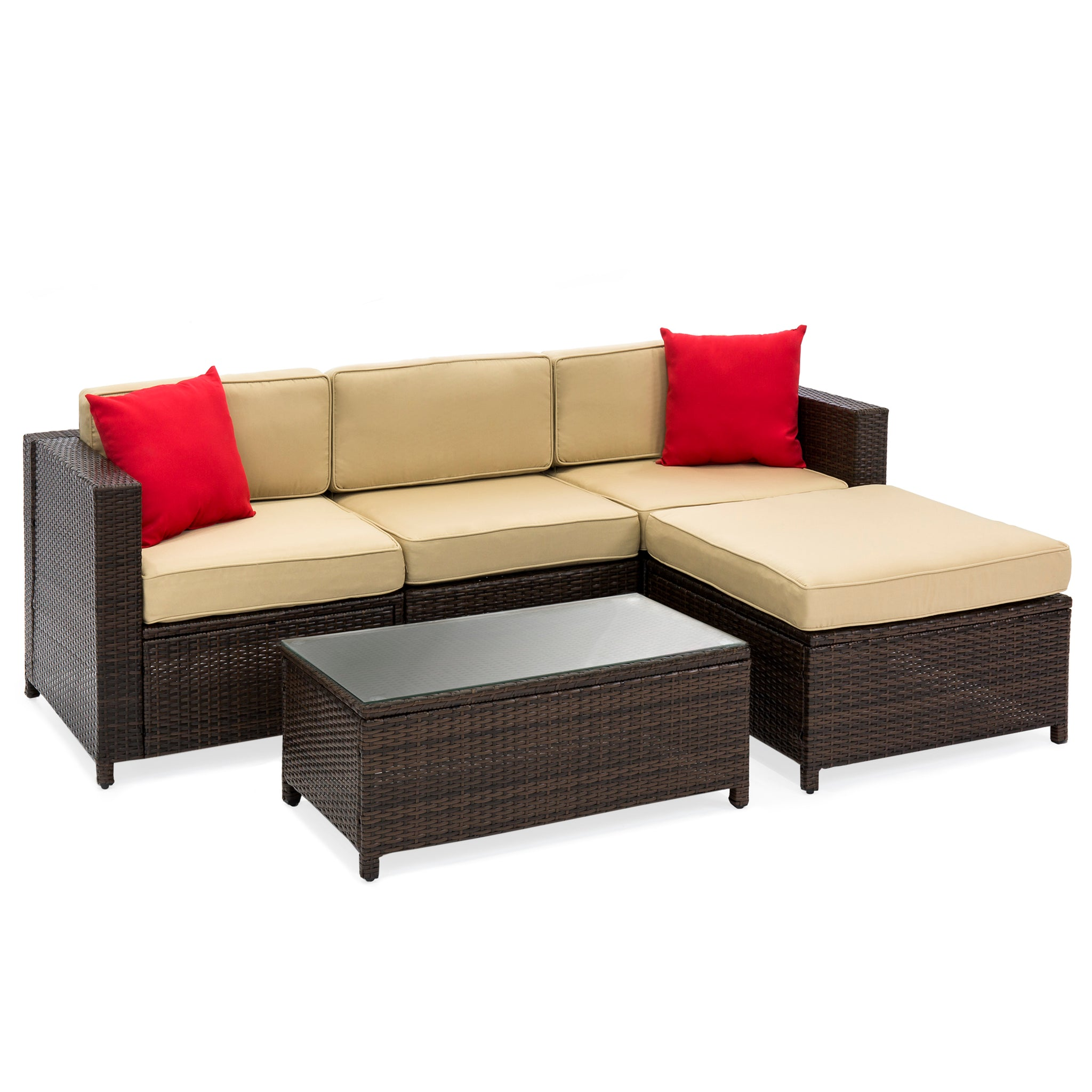 5 Piece Wicker Patio Sectional Set W/ Beige Cushions And Red Accent Pillows