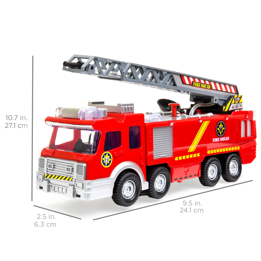 Bump and Go Electric Fire Truck Toy w/ Lights, Sound, Extendable Ladder, Water Pump Hose - Red