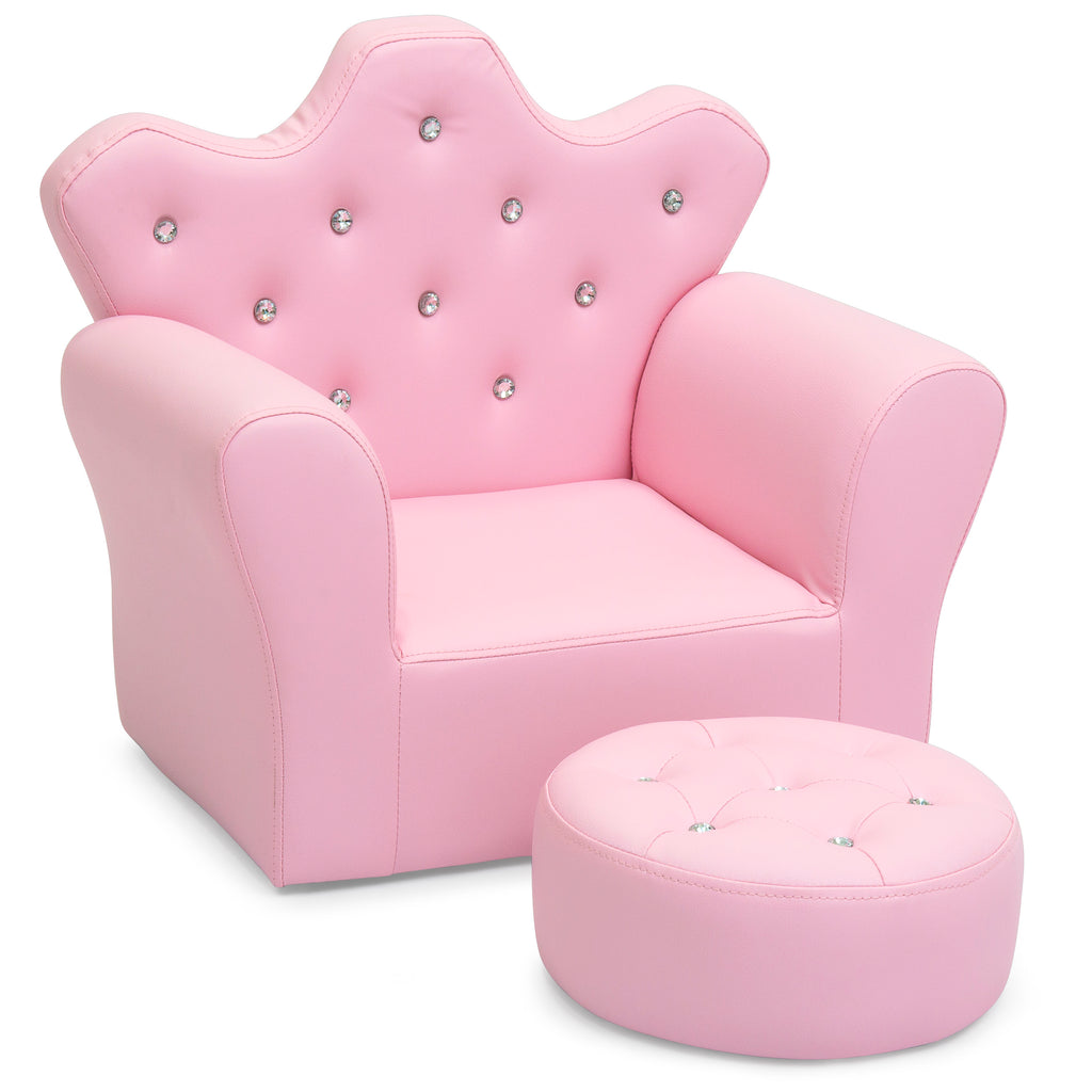Kids Mini Chair W Ottoman Pink Best Choice Products