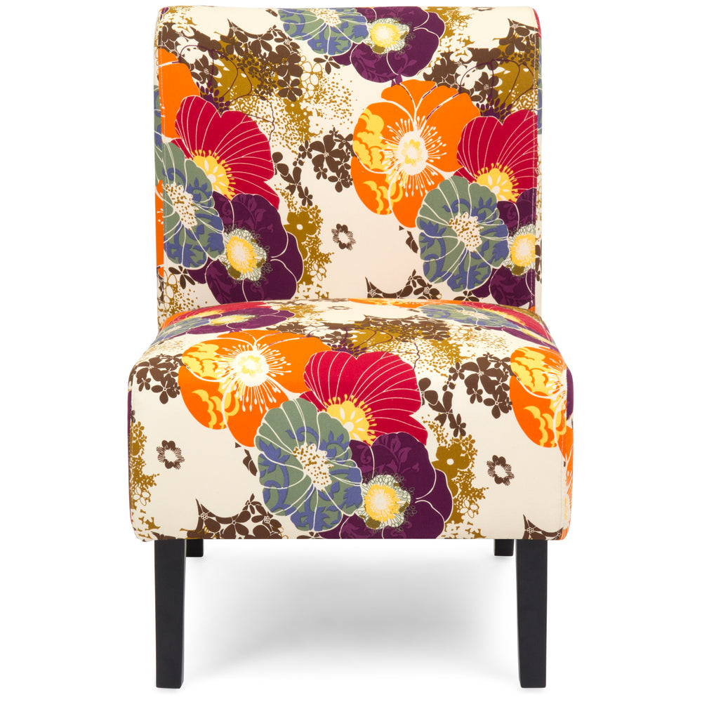 Modern Contemporary Upholstered Accent Chair   Floral/Multicolor