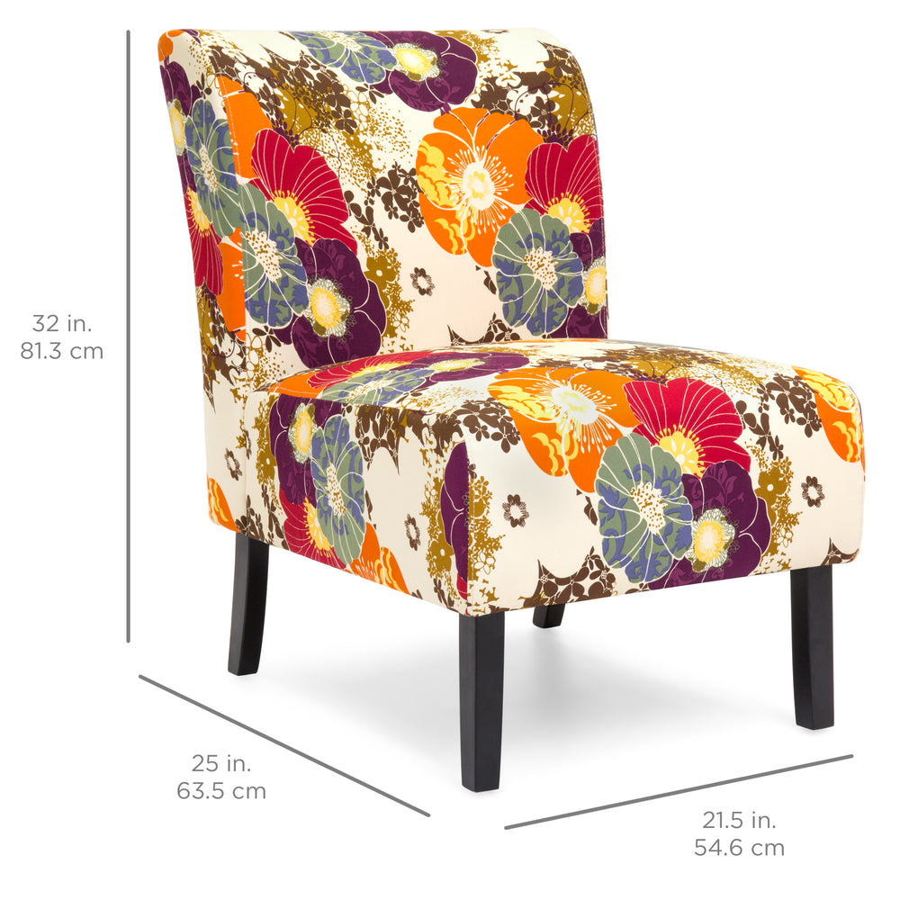 Modern Contemporary Upholstered Accent Chair - Floral/Multicolor
