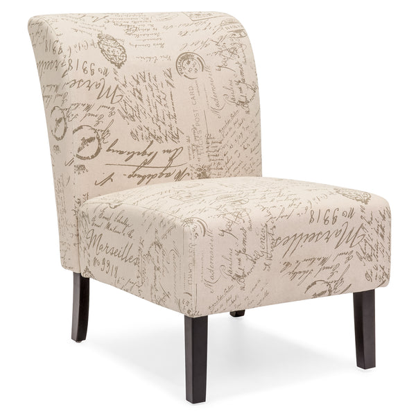 Modern Contemporary Upholstered Accent Chair - Brown/White