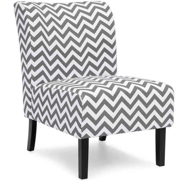 Modern Contemporary Upholstered Accent Chair - Gray/White