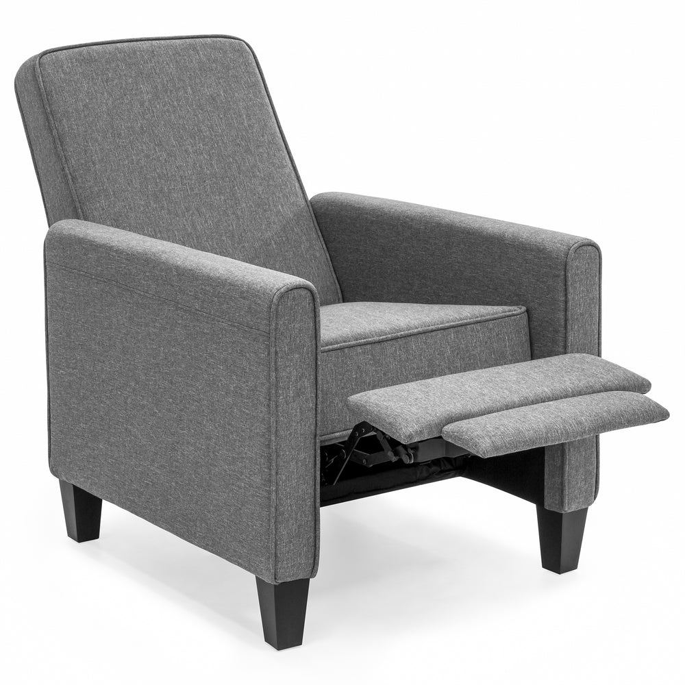 PU Leather Recliner Chair W/ Leg Rest   Slate Gray