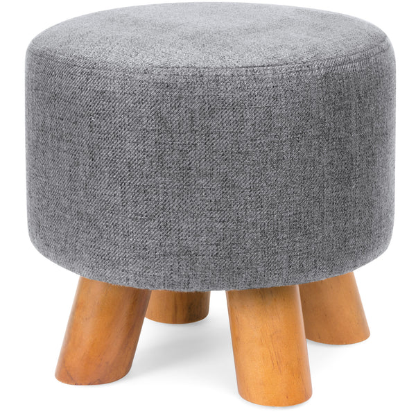 Upholstered Ottoman Padded Foot Stool Pouf w/ Removable Linen Cover - Gray