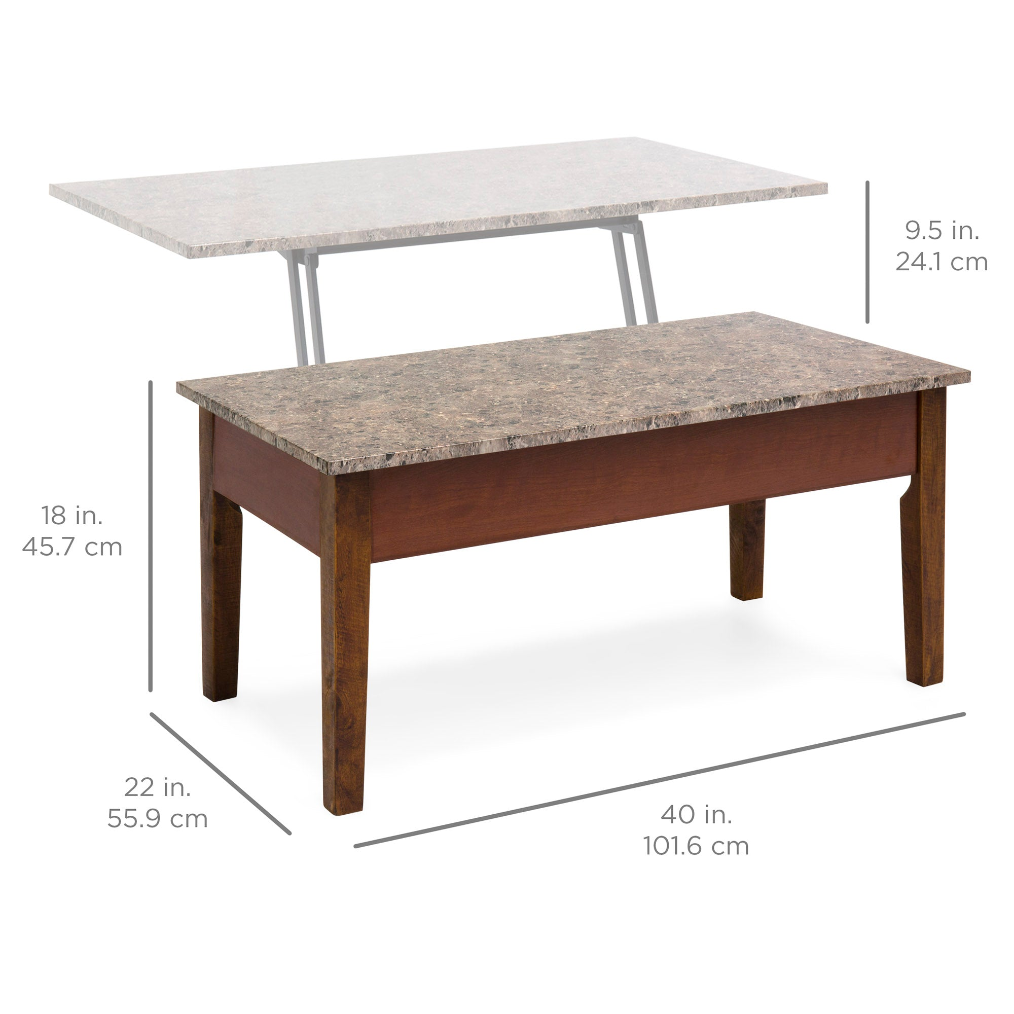 Marble lift top coffee table brown best choice products for Marble top coffee table