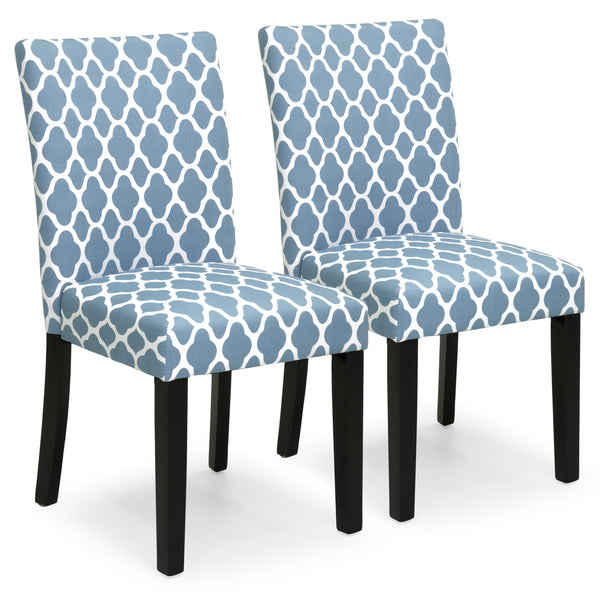 Set of 2 Mid-Century Fabric Parson Dining Chairs - Blue
