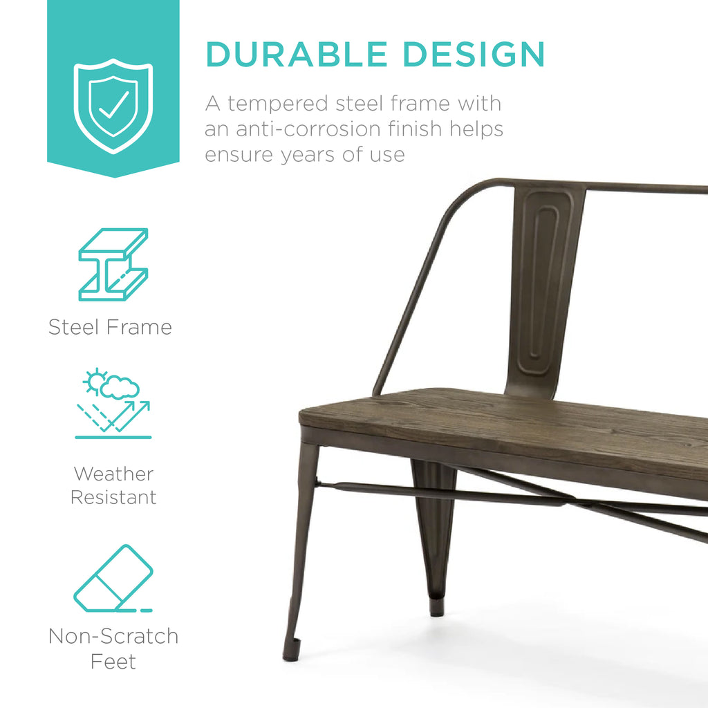 Industrial Metal Farmhouse Dining Bench w/ Wood Seat, Removable Back - 42in
