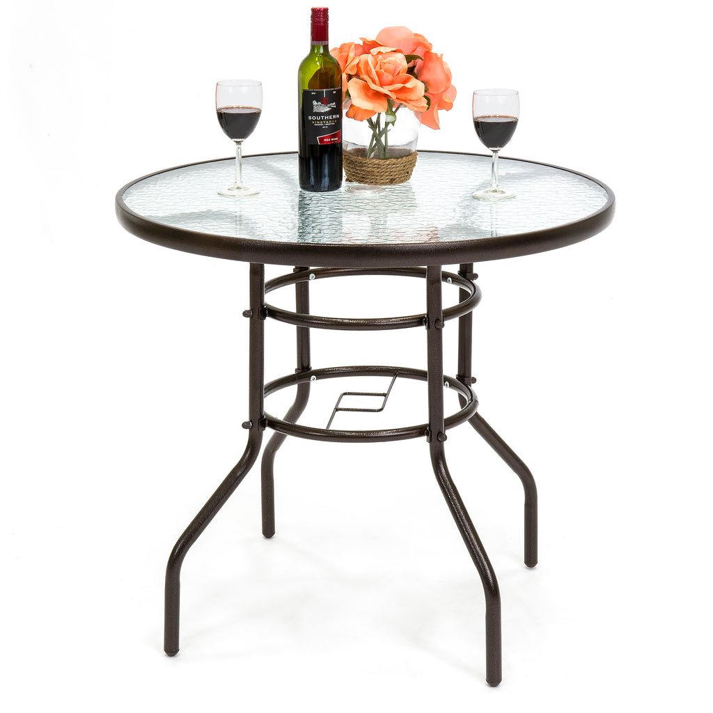 32in Round Tempered Glass Bistro Table