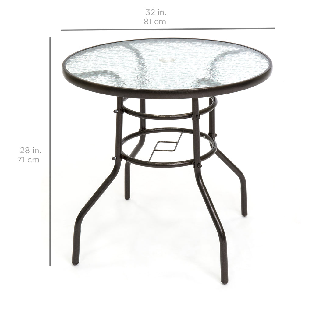 Best choice products 32 tempered glass patio dining for Glass top outdoor dining table