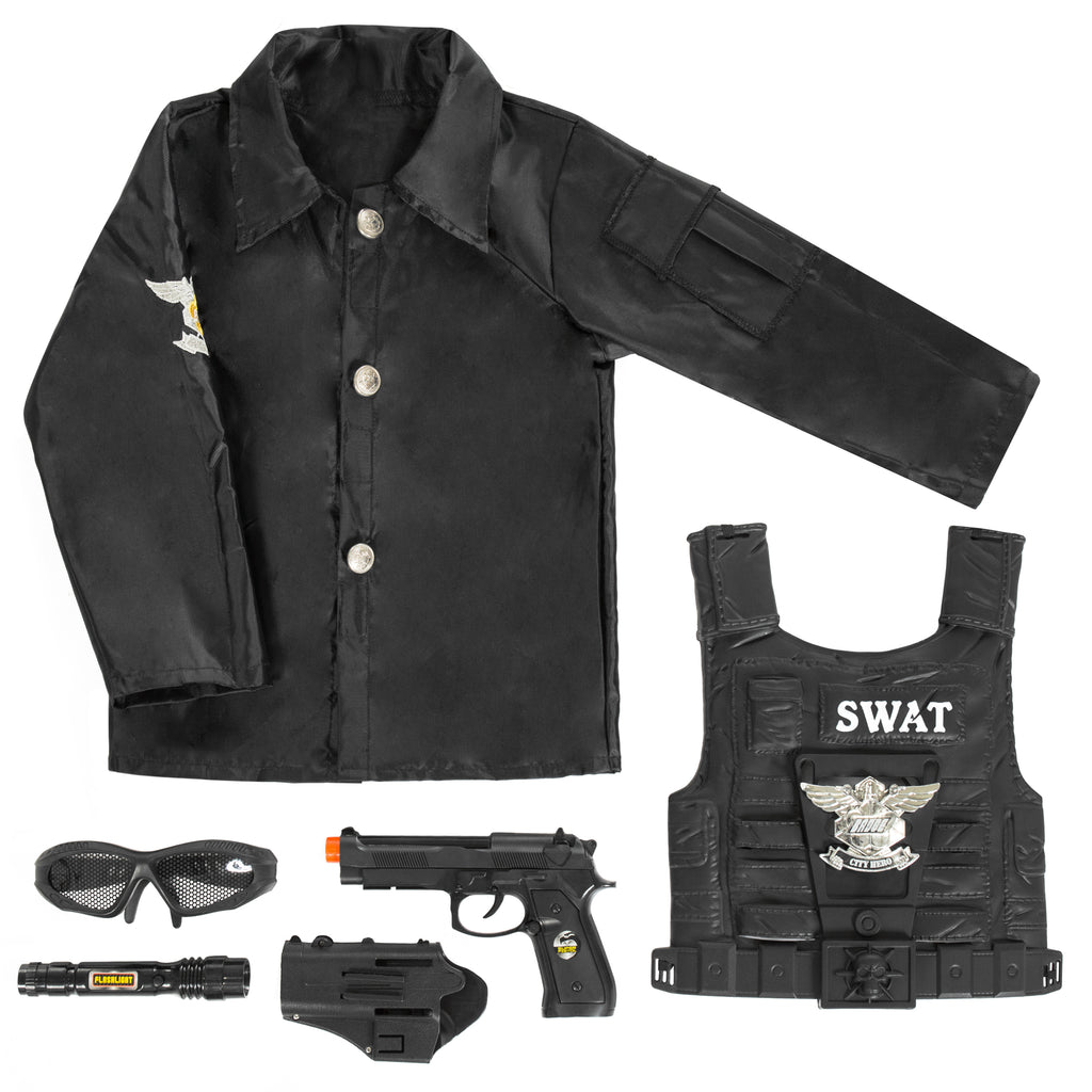 7-Piece Police Dress-Up Play Set - Black