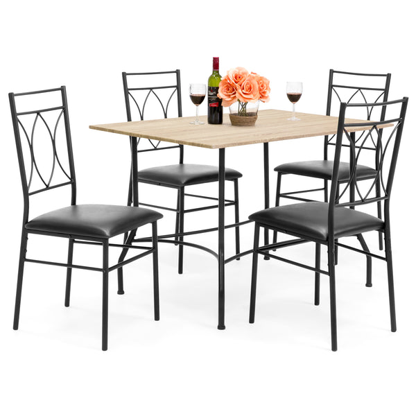 5-Piece Dining Set w/ Wood Table, Metal Chairs, Faux Leather Seats