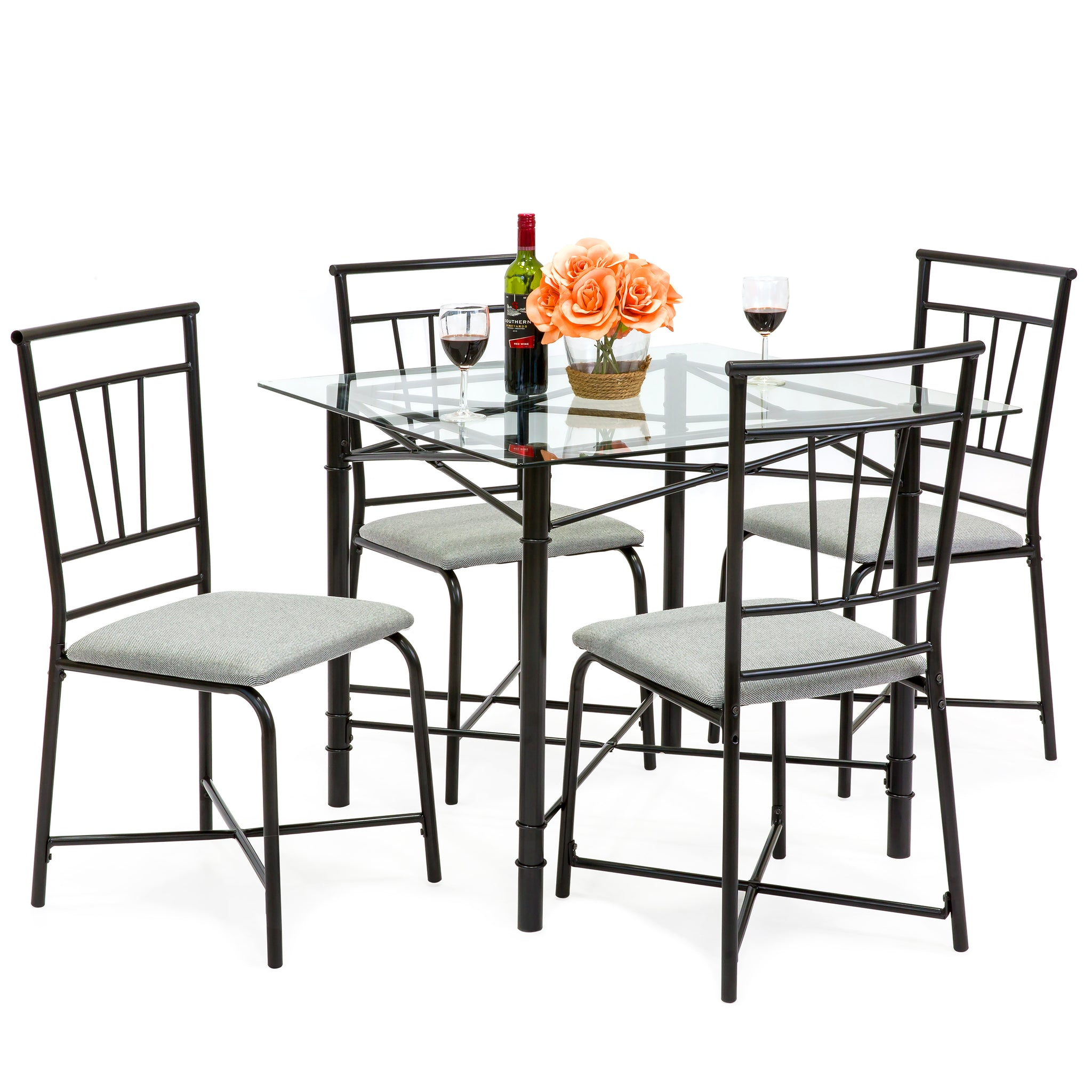 5 piece square glass dining table set w 4 upholstered chairs - Square Glass Dining Table