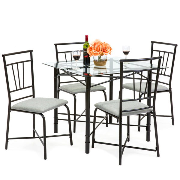 5-Piece Square Glass Dining Table Set w/ 4 Upholstered Chairs