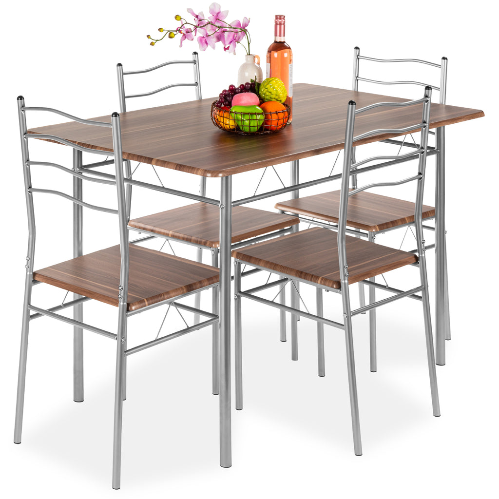 Search For Furniture: 5-Piece Dining Set Wooden Kitchen Table Metal Legs W/ 4