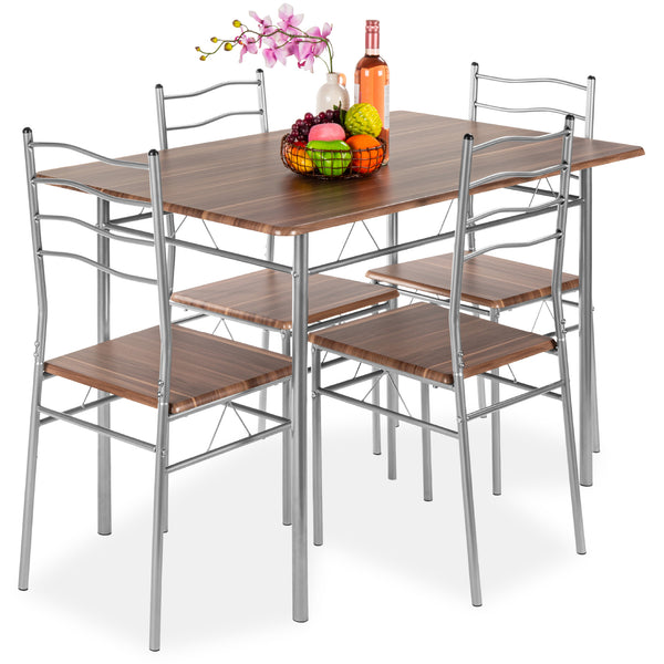 5-Piece Dining Set Wooden Kitchen Table Metal Legs w/ 4 Chairs