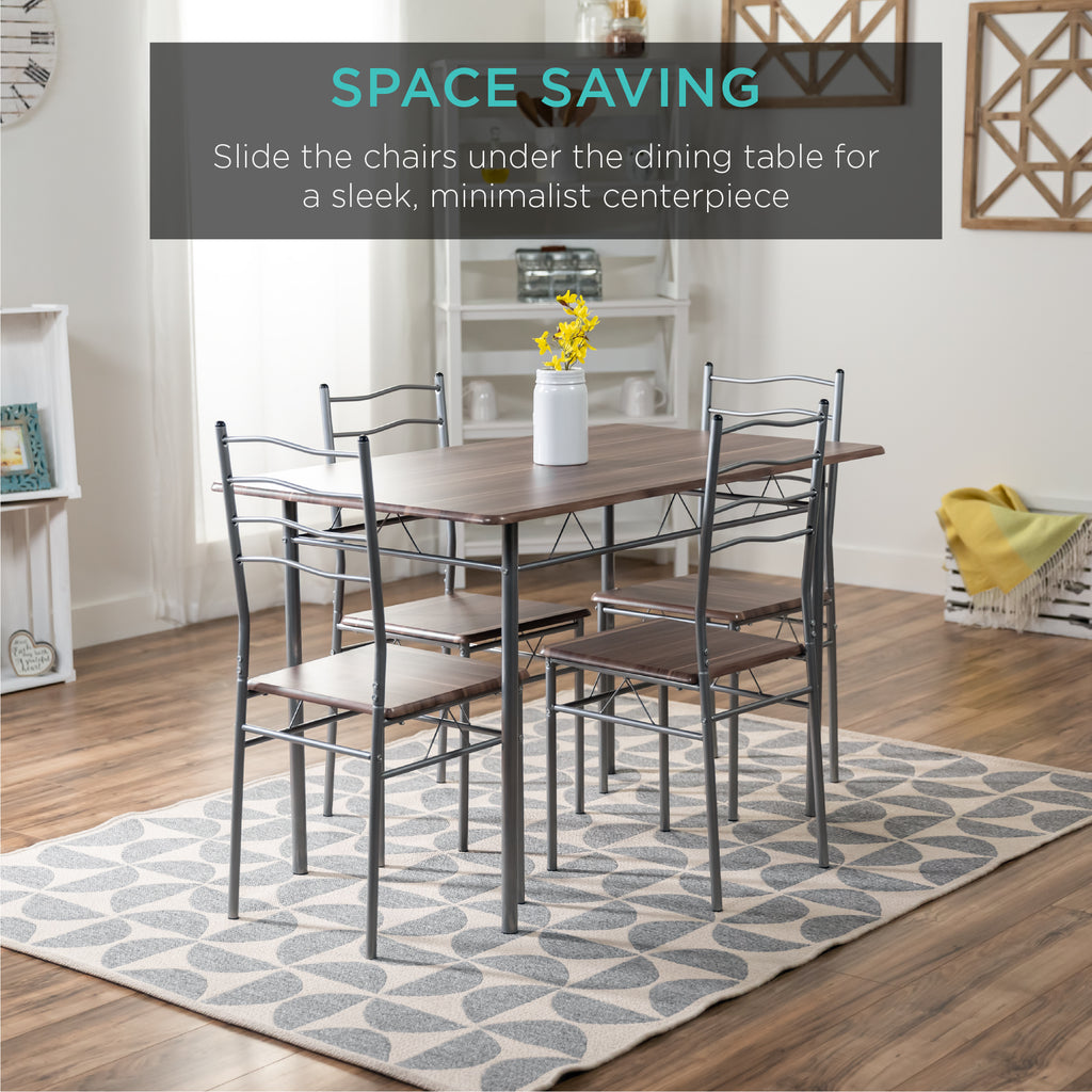 5-Piece Wooden Kitchen Table Dining Set w/ Metal Legs, 4 Chairs