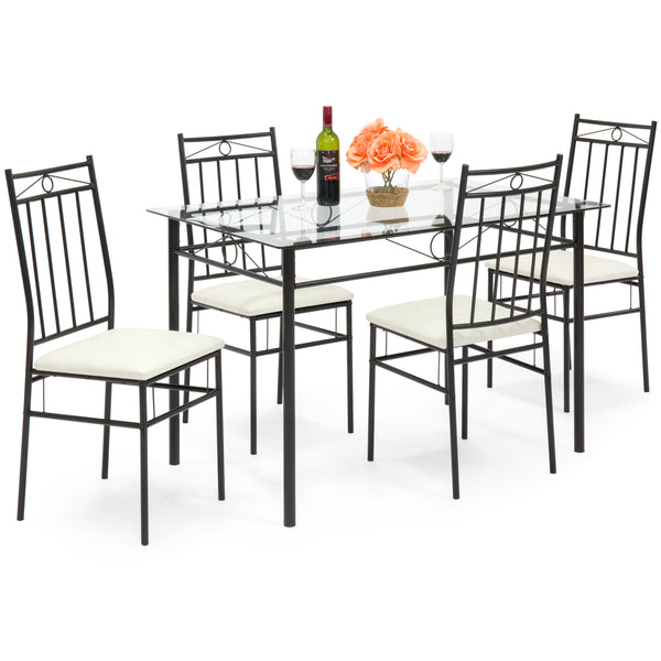 5-Piece Glass Table Dining Set w/ 4 Upholstered Chairs