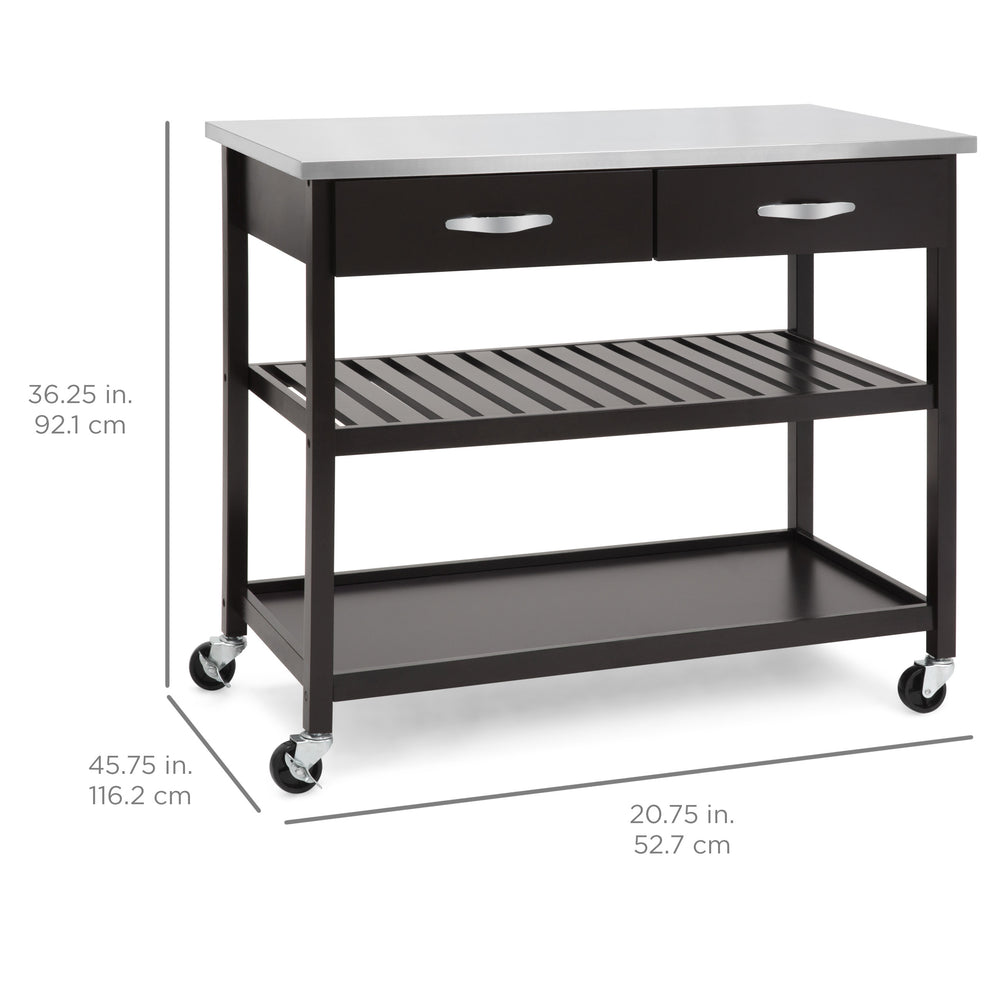 Kitchen Island Utility Cart   Espresso W/ Stainless Steel Countertop