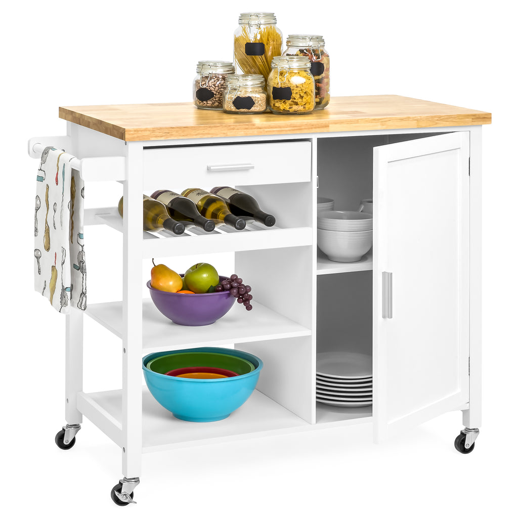 Mobile Kitchen Island Cart White Best Choice Products