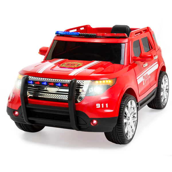 12V Ride On Firetruck w/ Remote Control, 2 Speeds, LED Lights - Red