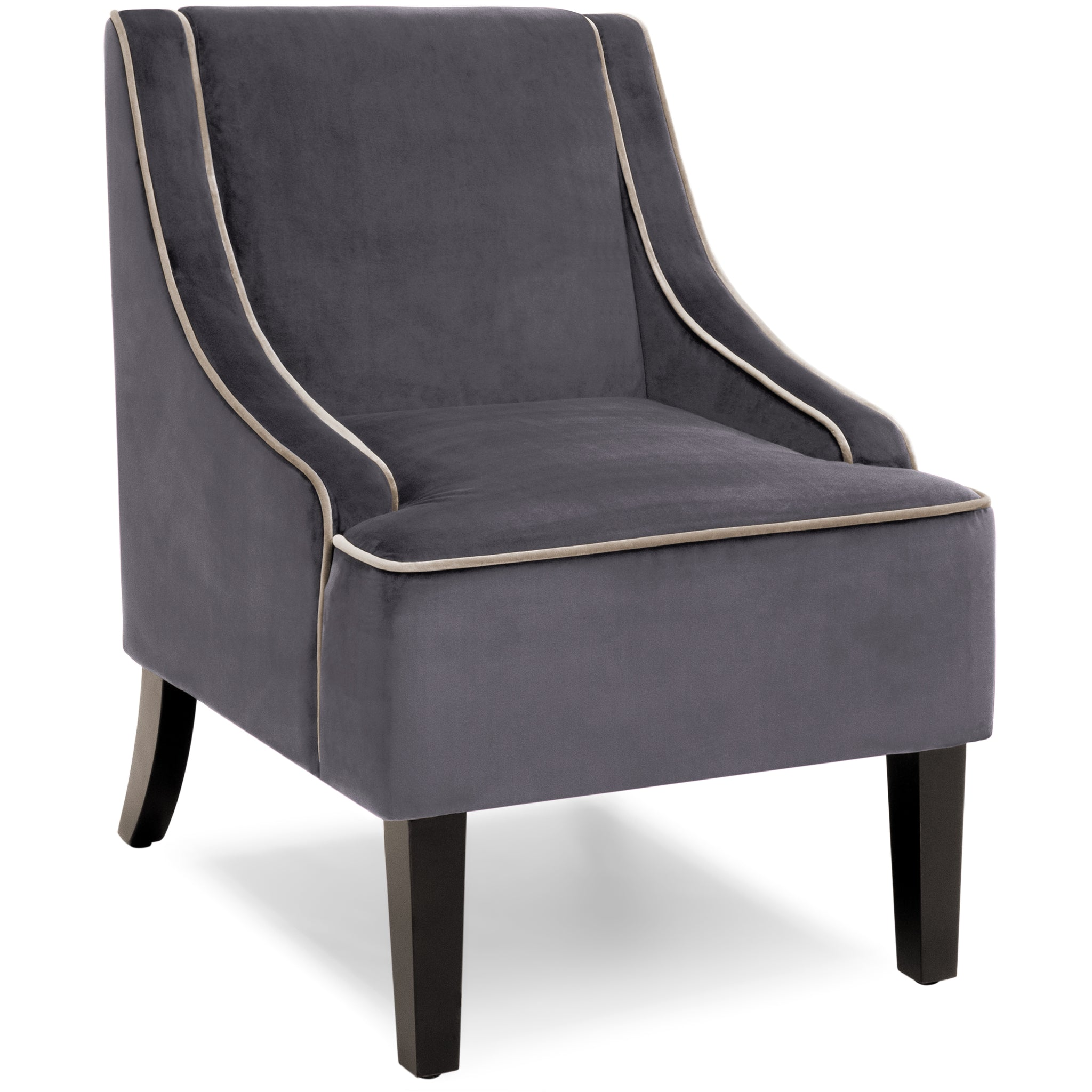 Microfiber Accent Chair w Wood Legs Gray – Best Choice Products