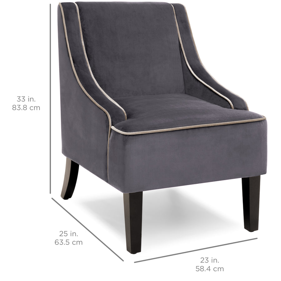 Microfiber Accent Chair w/ Wood Legs
