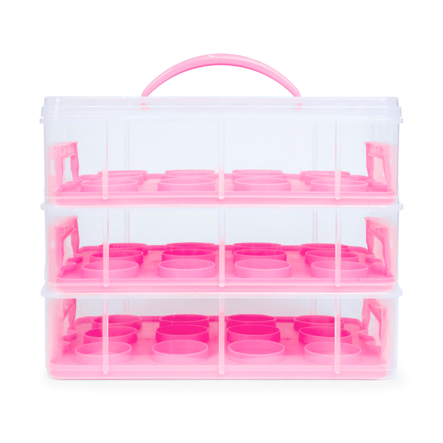 3-Tier Cake and Cupcake Holder Carrier - Pink