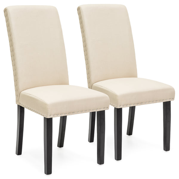 Set of 2 Studded Parsons Dining Chairs - Beige