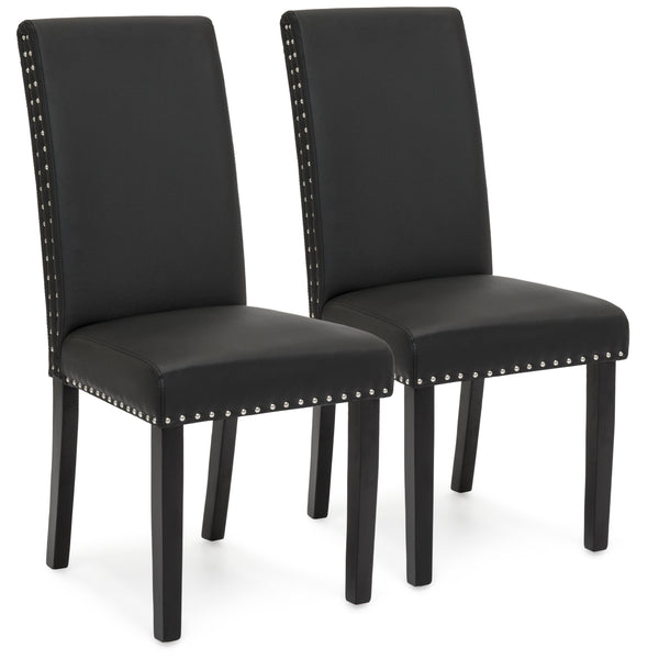 Set of 2 Studded Parsons Dining Chairs - Black