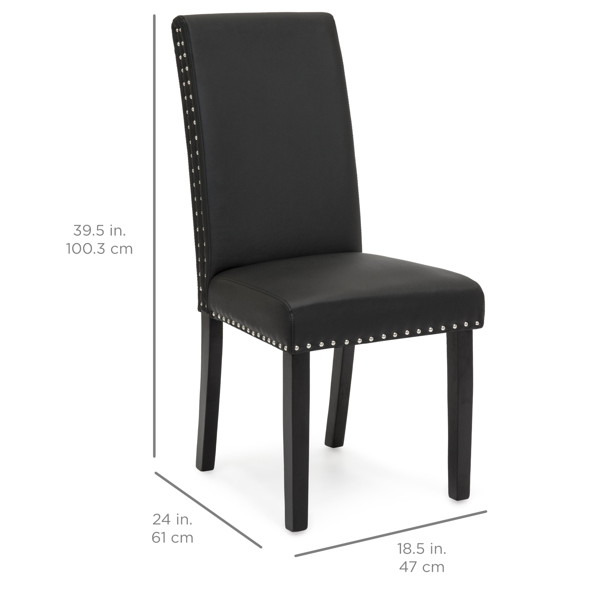 Set Of 2 Studded Parsons Dining Chairs   Black