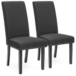 Set of 2 Studded Parsons Dining Chairs - Gray