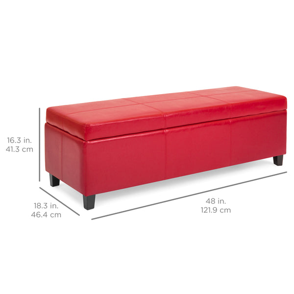 Faux Leather Ottoman Storage Bench Home Accent W Wood Frame Lift