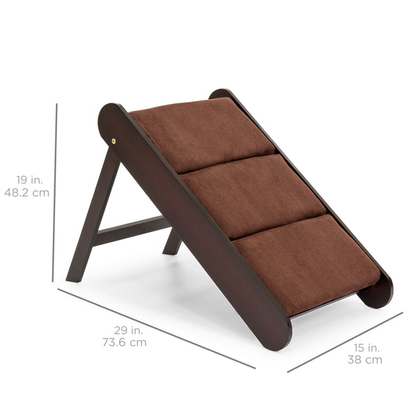19in Portable Folding Pet Ramp for Small Pets w/ Padded Cushions