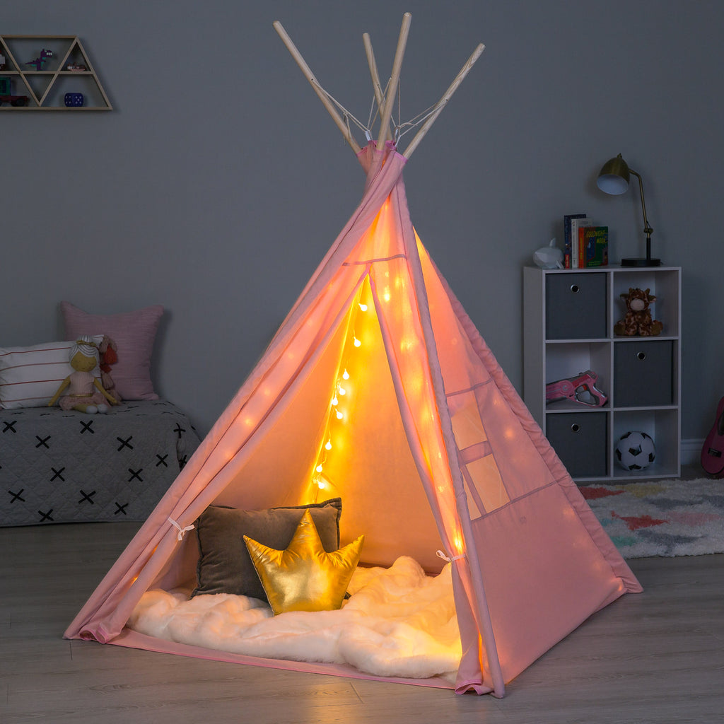 detailed look c1c9c 271f7 6ft Kids Cotton Pretend Teepee Play Tent w/ LED Lights ...