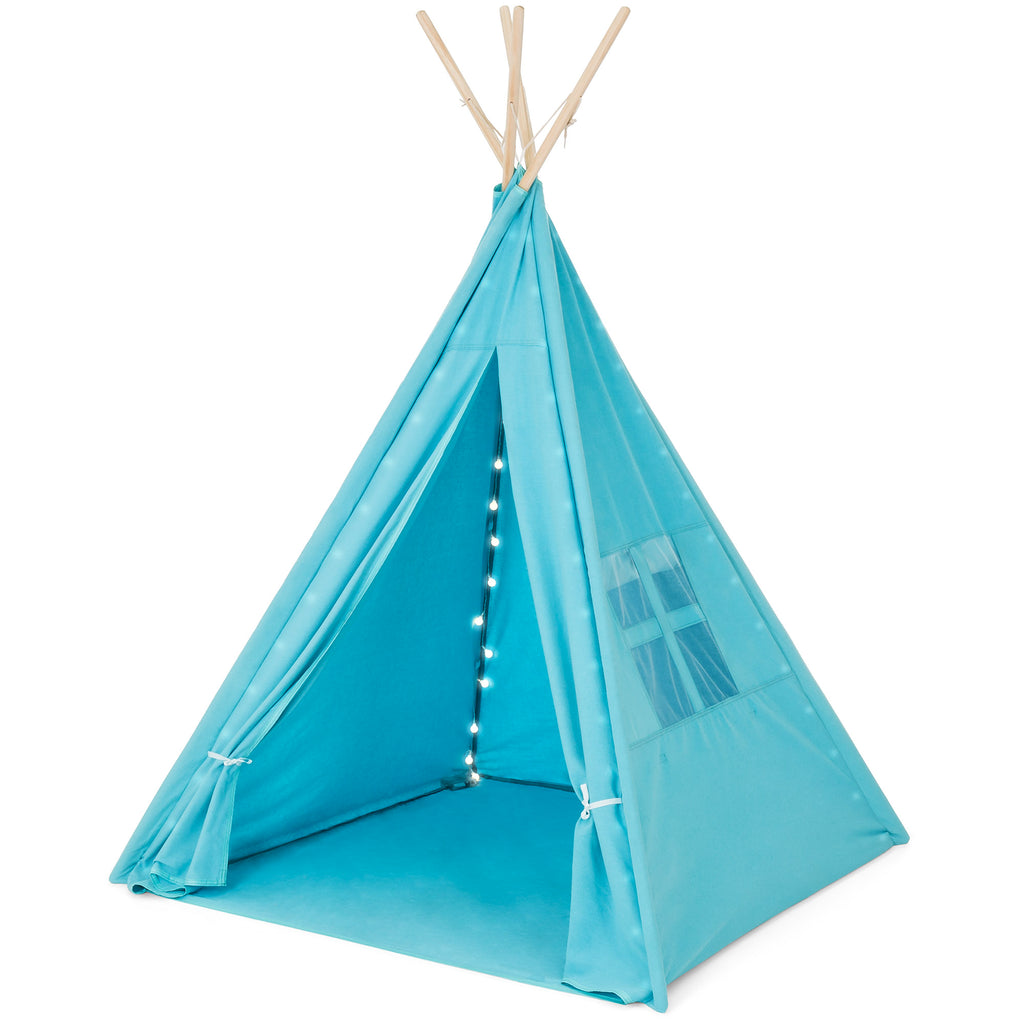 6ft Kids Cotton Pretend Teepee Play Tent w/ LED Lights, Carrying Bag