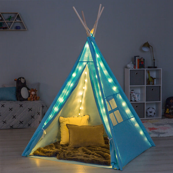 6ft Kids Teepee Play Tent w/ Lights, Carrying Bag - Blue