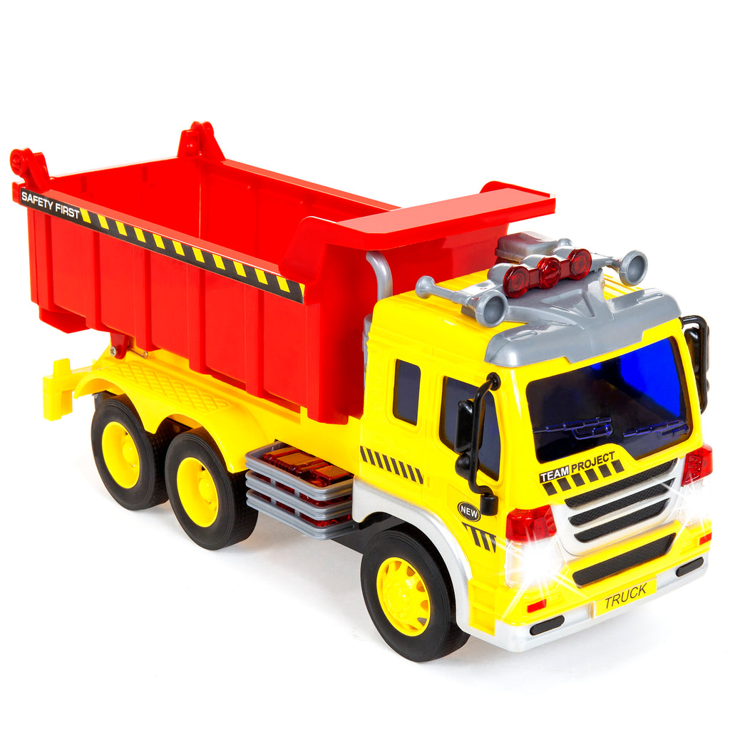 1/16 Scale Kids Push-and-Go Friction Powered Garbage Dump Truck Toy
