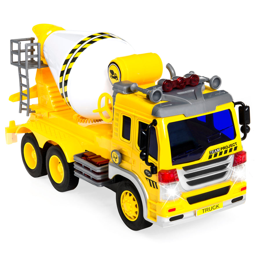 1/16 Scale Friction Powered Toy Cement Mixer Truck - Yellow