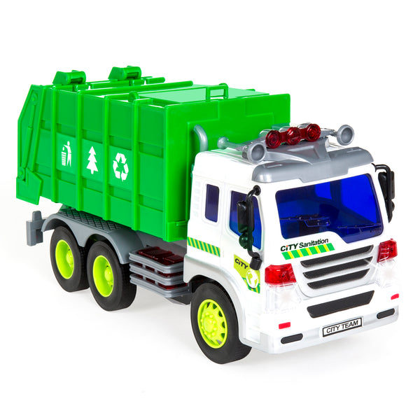 1/16 Scale Friction Powered Toy Recycling Garbage Truck - Green