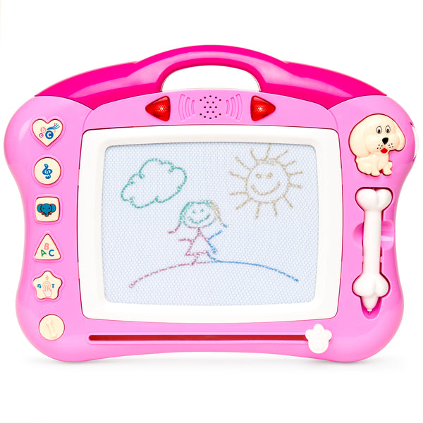 Magnetic Drawing Kid Learning Doodle Pad with Retractable Pen & Musical Tunes - Pink