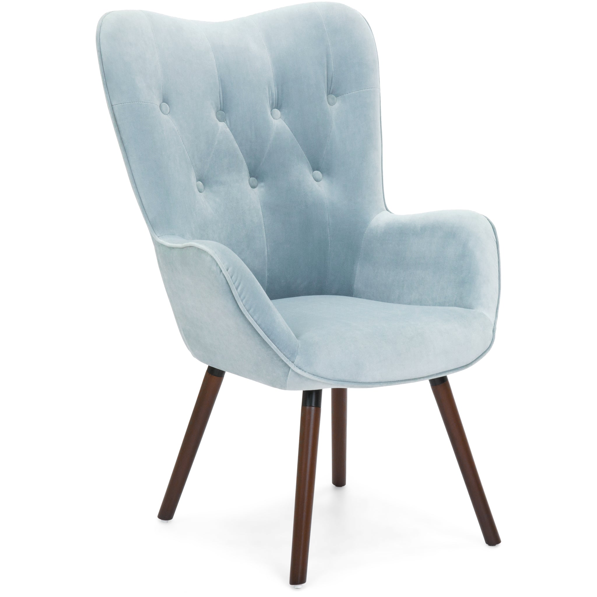 Contemporary Silk Velvet Tufted With Wooden Legs And Buttons Accent Chair    Blue